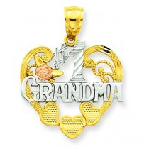 Number One Grandma Heart Pendant in 14k Two-tone Gold