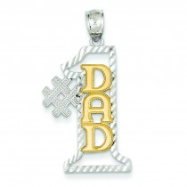 Number One Dad Pendant in 14k Two-tone Gold