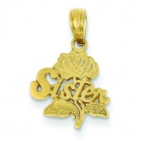 Sister Rose Pendant in 14k Yellow Gold
