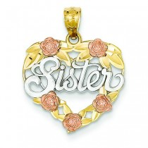 Sister Heart Pendant in 14k Two-tone Gold