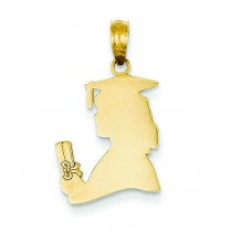 Female Graduate Diploma Pendant in 14k Yellow Gold