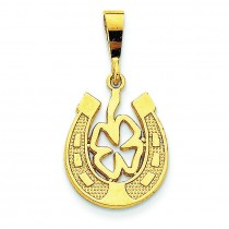 Good Luck Clover Pendant in 14k Yellow Gold