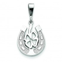 Good Luck Clover Pendant in 14k White Gold