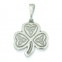 Trinity Clover Pendant in 14k White Gold