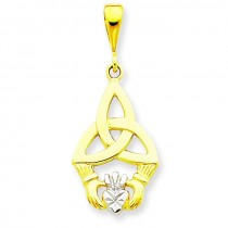 Diamond Cut Claddagh Pendant in 14k Yellow Gold