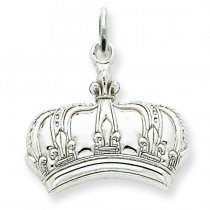 Fleur De Lis Crown Charm in 14k White Gold