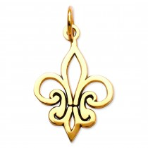 Fleur De Lis Charm in 14k Yellow Gold