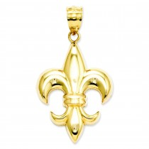 Medium Fleur De Lis Pendant in 14k Yellow Gold