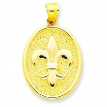 Fleur De Lis On Oval Disk Pendant in 14k Yellow Gold