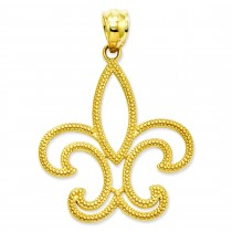 Patterned Fleur De Lis Pendant in 14k Yellow Gold