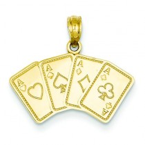 Aces Playing Cards Pendant in 14k Yellow Gold