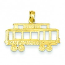 San Francisco Cable Car Pendant in 14k Yellow Gold