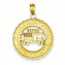 San Francisco California Cable Car Pendant in 14k Yellow Gold