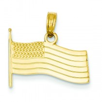American Flag Pendant in 14k Yellow Gold