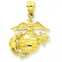 Large Us Marine Corps Pendant in 14k Yellow Gold