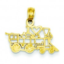 I Love Train Pendant in 14k Yellow Gold