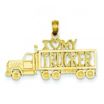 I Love My Trucker Truck Pendant in 14k Yellow Gold
