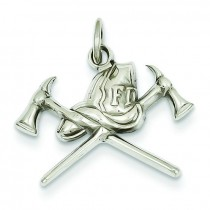 Fire Department Charm in 14k White Gold