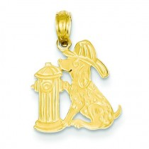 Fire Hydrant Dog Pendant in 14k Yellow Gold
