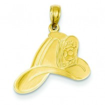 Fire Dept Helmet Pendant in 14k Yellow Gold