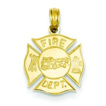 Fire Dept Shield Pendant in 14k Yellow Gold