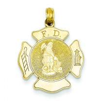 Large Fire Department Badge Pendant in 14k Yellow Gold