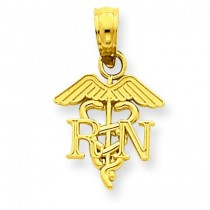 RN Caduceus Pendant in 14k Yellow Gold