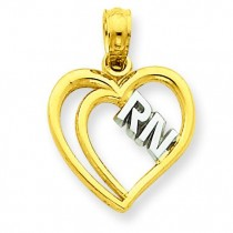 RN Heart Pendant in 14k Yellow Gold