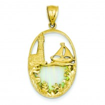 Opal Lighthouse Sailboat Pendant in 14k Yellow Gold