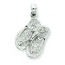 Flip Flops Pendant in 14k White Gold