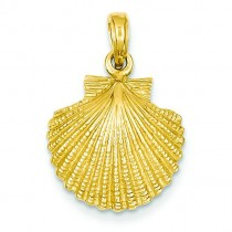 Scallop Shell Pendant in 14k Yellow Gold