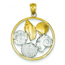 Shell Cluster In Circle Pendant in 14k Two-tone Gold