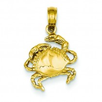 Crab Pendant in 14k Yellow Gold