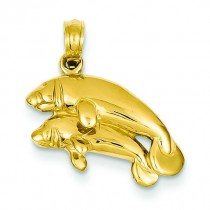 Double Manatee Pendant in 14k Yellow Gold