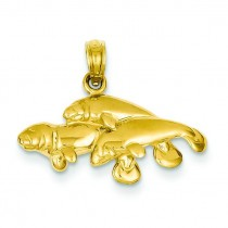 Triple Manatee Pendant in 14k Yellow Gold