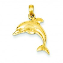 Jumping Dolphin Pendant in 14k Yellow Gold