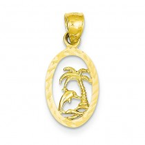 Dolphin Palm Tree Pendant in 14k Yellow Gold