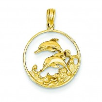 Double Dolphin Circle Pendant in 14k Yellow Gold