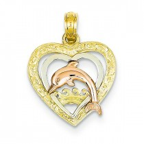 Dolphin Heart Pendant in 14k Tri-color Gold