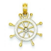 Ship Wheel Pendant in 14k Yellow Gold