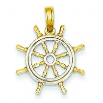 Ship Wheel Pendant in 14k Yellow Gold