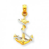 Anchor Rope Pendant in 14k Two-tone Gold