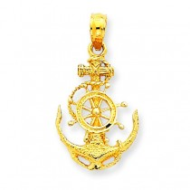 Small Anchor Wheel Pendant in 14k Yellow Gold