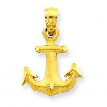 Diamond Cut Anchor Pendant in 14k Yellow Gold