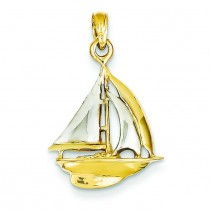 Sail Boat Pendant in 14k Yellow Gold
