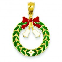 Christmas Wreath Pendant in 14k Yellow Gold