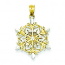 Diamond Cut Snowflake Pendant in 14k Yellow Gold