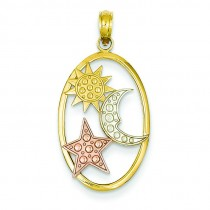 Sun Moon Star Oval Pendant in 14k Tri-color Gold