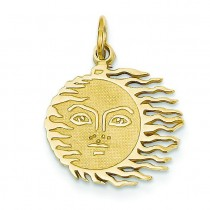 Flaming Sun Charm in 14k Yellow Gold