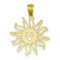 Smiling Sun Pendant in 14k Yellow Gold